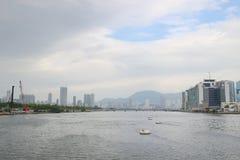 观塘在kwoloon hk的台风风雨棚 库存图片