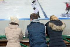 观察冰球比赛 库存图片