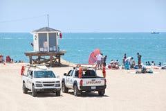 观测塔停放的救生员卡车 库存照片