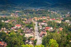 观点和美好的风景在琅勃拉邦,老挝 免版税库存照片