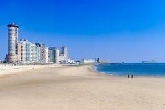 观点的一个现代海滨城市或镇和它的海滩 大货船在海 背景概念框架沙子贝壳夏天 假期 库存图片