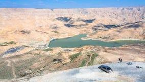观点的人们在Al Mujib水坝在约旦 库存照片