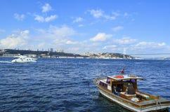 观点的伊斯坦布尔的欧洲边从Bosphorus的 免版税图库摄影