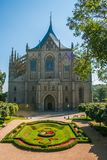 观点的哥特式圣徒Barbora大教堂联合国科教文组织在Kutna Hora的中心 免版税库存照片