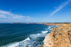 观点的圣文森Cape Cabo de Sao Vincente在萨格里什,阿尔加威,葡萄牙 图库摄影