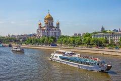 观点的基督救主教会在莫斯科 免版税库存照片