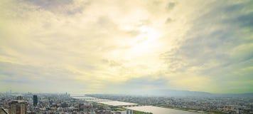 观点的大阪的西北边 免版税库存图片