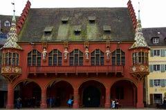 观点的弗赖堡的历史客商霍尔 免版税库存照片