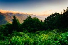 观点的日出的蓝色里奇,看从Mt 米歇尔Overlo 免版税库存图片