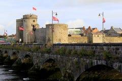 观点的约翰的Castle,在Island,五行民谣,爱尔兰,秋天国王的上的13世纪城堡国王, 2014年 库存照片