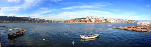 观点的金黄垫铁和加拉塔从码头 图库摄影
