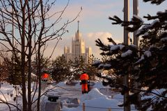 观点的雪清洁的工作人员在公园 免版税图库摄影