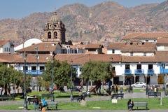 观点的Plaza De库斯科,秘鲁阿玛斯  免版税库存图片