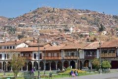 观点的Plaza De库斯科,秘鲁阿玛斯  免版税图库摄影