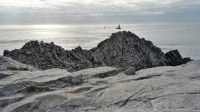 观点的Pointe du拉兹在Finistère,布里坦尼,法国,欧洲 免版税图库摄影
