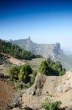 观点的Roque Nublo,大加那利岛,西班牙 免版税库存图片