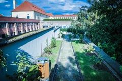 观点Masaryk视图Masarykova vyhlÃdka在布拉格城堡区域在夏天 库存图片