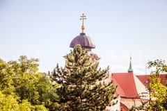 观点Masaryk视图Masarykova vyhlÃdka在布拉格城堡区域在夏天 免版税图库摄影