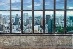 观看东京地平线,东京市,从烟b的日本都市风景  库存照片