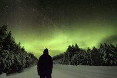观看北极光极光Borealis的一个人的剪影 免版税库存图片