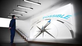 观看可能的指南针夹子的商人 影视素材