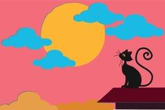 观看在桃红色多云天空的美丽的恶意嘘声太阳设置,在家屋顶上面  库存例证