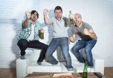 观看在电视的朋友狂热足球迷比赛庆祝目标叫喊疯狂愉快 免版税库存照片