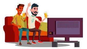 观看在长沙发的橄榄球和喝啤酒传染媒介的两个朋友 按钮查出的现有量例证推进s启动妇女 皇族释放例证