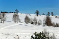 观看室外在一美好的冬天` s天 免版税库存照片