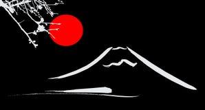观看富士山京都和大阪花红色太阳 库存图片