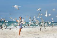 观看海鸥飞行的年轻美丽的妇女 免版税库存图片