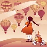 观看热空气气球的女孩 免版税图库摄影