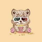 观看电影的豹子崽 免版税库存图片