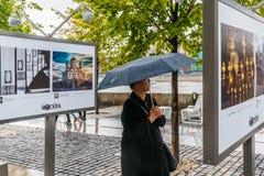 观看的照片在雨中 库存照片