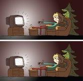 观看的电视区别视觉比赛 免版税库存图片