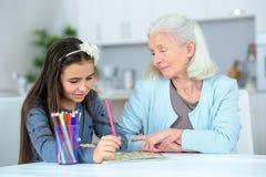 观看的盛大女儿画 免版税库存照片