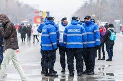 观看12月1日Romania's全国Da的Gendarmery保险柜 免版税库存照片