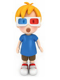 观看3D的孩子 免版税库存图片