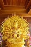 观音工业区和一千条胳膊在Wat Ras Prakorngthum Nonthaburi泰国 免版税库存图片