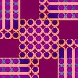 规则同心圆和条纹仿造在红色紫罗兰的紫罗兰色橙色杏子颜色紫色 免版税库存照片