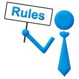 规则蓝色人的举行的牌 免版税库存照片