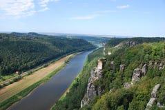 视图横向elbsandsteingebirge 库存图片