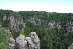 视图横向elbsandsteingebirge 免版税图库摄影