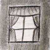 视窗草图与窗帘的 免版税库存图片