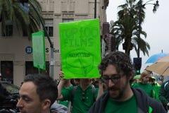 视觉效果在金象奖期间的艺术家抗议 免版税库存图片