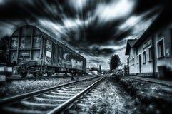 视觉效果被给射击夺取了一列pasing的火车 免版税库存照片