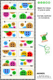 视觉谜语-匹配一半-五颜六色的按钮 库存图片