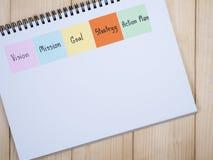视觉,使命,目标,战略,行动纲领2 库存照片