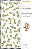 视觉逻辑难题-发现独特的钥匙 向量例证