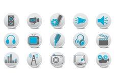 视频和音频按钮 免版税图库摄影